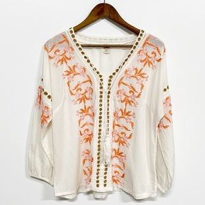 Sundance White Floral Embroidered Long Sleeve Top